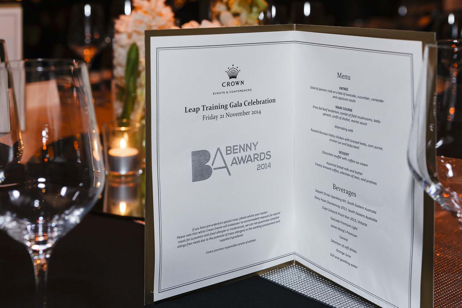 Menu on table at a social events